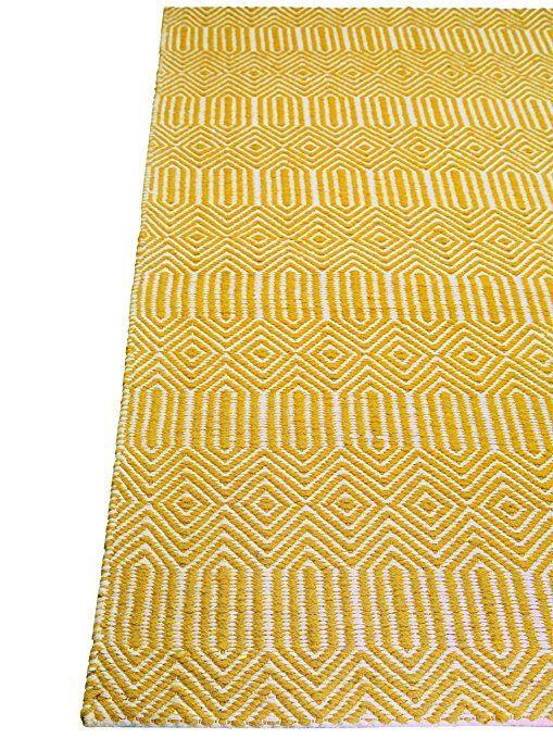benuta Tapis de salon moderne Sloan pas cher Jaune 120x170 cm - Label de qualité GoodWeave - 55% Coton, 45% Laine - Chevron - Tissé plat - Salon: Amazon.fr: Cuisine & Maison