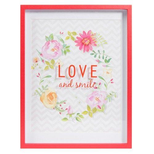 Tableau en bois 23 x 30 cm LOVE & SMILE | Maisons du Monde