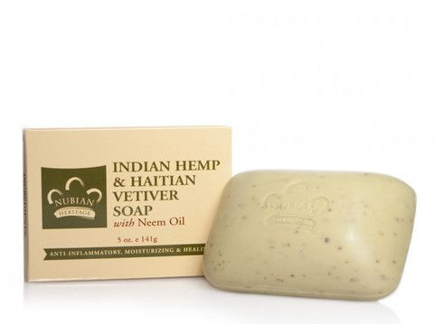 Indian Hemp and Haitian Vetiver Bar Soap - Finely crushed Hemp Seed and Vetiver gently polish and cleanse rough, dry, dull looking skin in this unique Shea Butter soap. Ultra-moisturizing Neem Oil soothes the skin leaving it soft and hydrated.  face #skin #organic #ecoorganicgoods