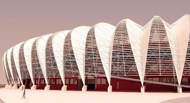 Located on the banks of the River Guaiba, the Estadio Beira-Rio is the home of world famous club Internacional. The main revamping of the stadium is the installation of an innovative metal roof to cover the stands, ramps and turnstile areas. Unlike most other stadiums the Estadio Beira-Rio will remain in operation during the renovation project. Five matches will be played here during the 2014 Fifa World Cup in Brazil. #stadiums #Brazil