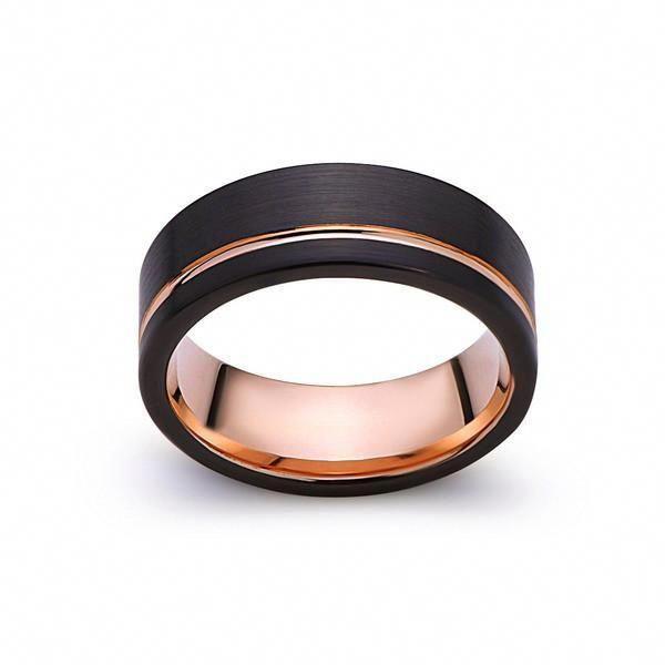 Black Diamond Tungsten Wedding Ring,Rose Gold Tungsten Ring,Anniversary Ring,Engagement Ring,18k Rose Gold,Tungsten Carbide Ring,18 Rose