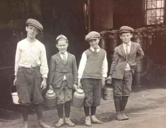 Boys sent to fetch skimmed milk. St Louis.