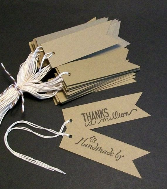 Flag Tags Kraft price tags Rustic Gift Tags by LDCraftSupplies