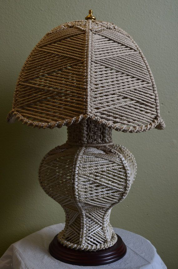 Original Smaller Macrame Table Lamp by KnottybutNiceKonnie on Etsy