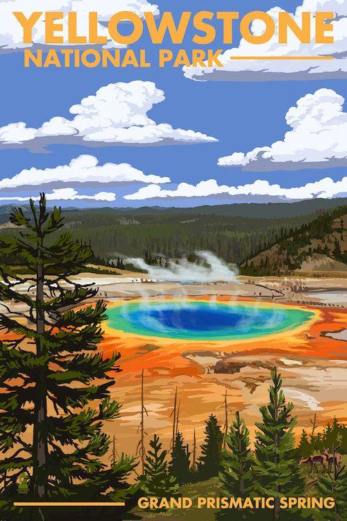 Yellowstone National Park (Grand Prismatic Spr… | Lantern Press