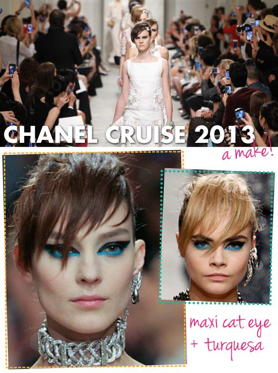 Make, maquiagem, Chanel Cruise, 2013/2014, gatinho, delineador, cat eye, azul, preto, turquesa, Cara Delevigne