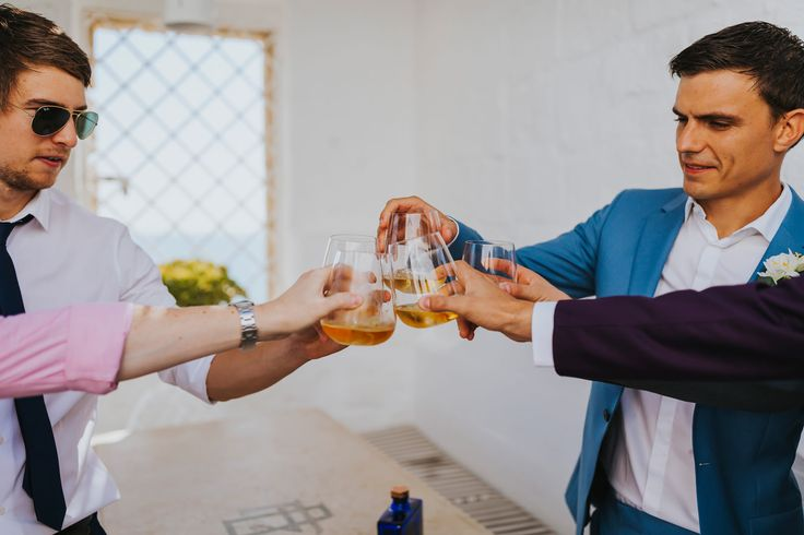 Cheers lads! Photo by Benjamin Stuart Photography #weddingphotography #cheers #haigclub #weddingday #lads #italianwedding #gettingmarried