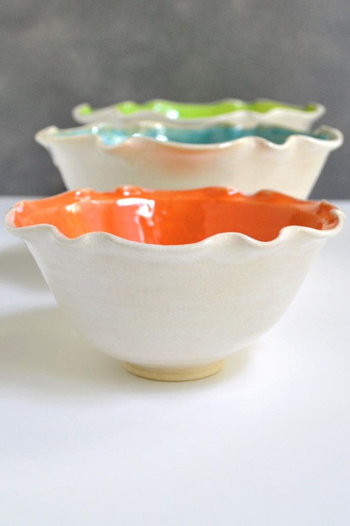 Nesting bowl set in Neon Bright from Lee Wolfe Pottery >> So pretty!