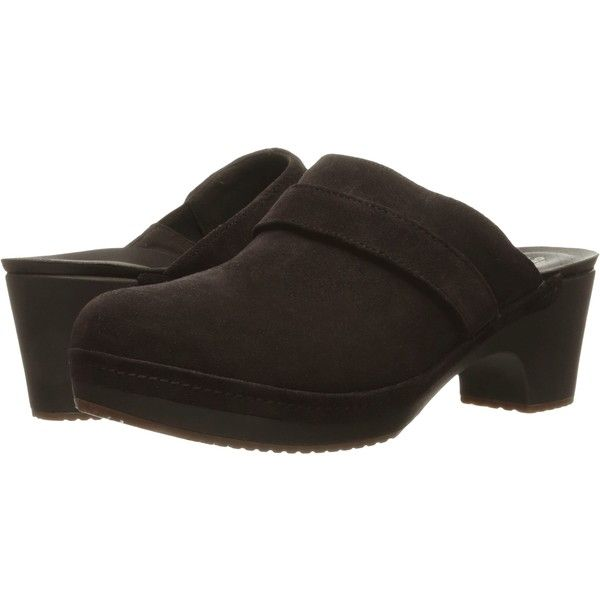 Crocs Sarah Suede Clog (Espresso) Women's Clog Shoes (355 SEK) ❤ liked on Polyvore featuring shoes, clogs, brown, strappy high heel shoes, brown high heel shoes, platform clogs, brown clogs and brown platform shoes
