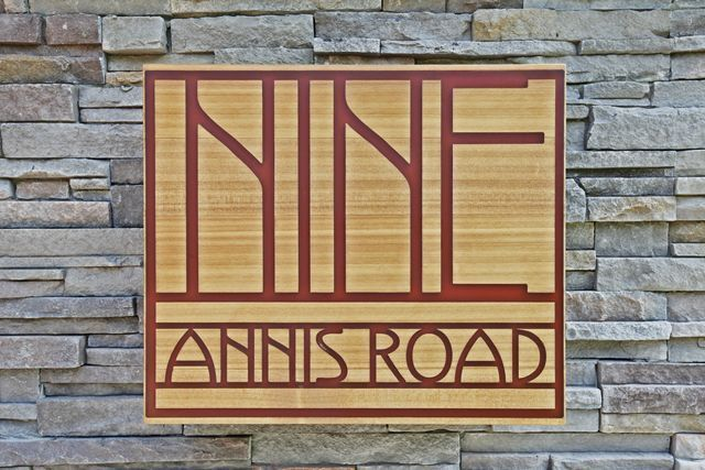 9 Annis Road - Custom wooden carved name plate
