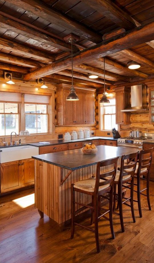 Wood wall, ceiling, floor, and cabinets but I like this one. Good amount of natural light coming in.