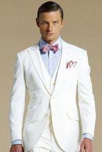 Wit bruidegom kostuums piekte revers smoking bruiloft pakken voor mannen 2015 bruidsjonkers suits mannen driedelige pak (jas + broek + vest + tie)(China (Mainland))