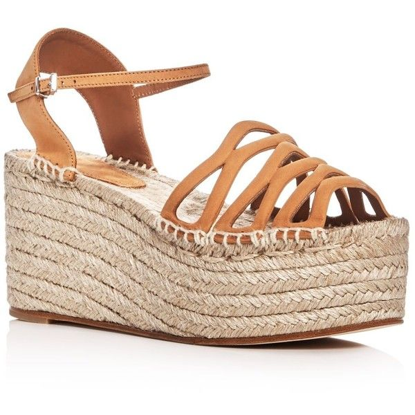 Giorgio Armani Ankle Strap Platform Espadrille Sandals (8.525 ARS) ❤ liked on Polyvore featuring shoes, sandals, beige, ankle strap shoes, ankle wrap sandals, ankle wrap espadrille, espadrille sandals and beige espadrilles