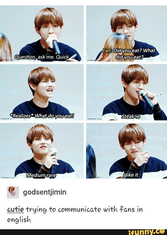 Taehyung trying to communicate in english
