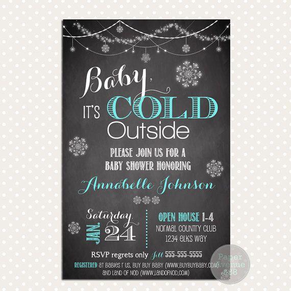 Bleu bébé ses invitations imprimables du thème Cold Outside Invitations-Premade Digital Card inviter imprimable hiver bébé douche petit flocon de neige