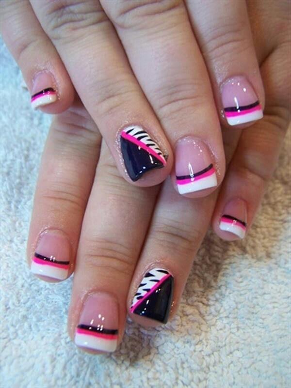 white hot pink and black zebra nails pinterest