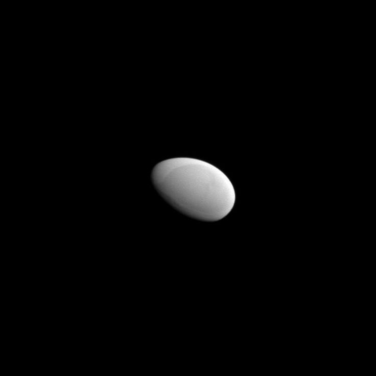 Methone: 3-kilometer diameter Smooth Egg Moon of Saturn - Why is this moon shaped like a smooth egg? The robotic Cassini spacecraft completed the first flyby ever of Saturn's small moon Methone in May and discovered that the moon has no obvious craters. Craters, usually caused by impacts, have been seen on every moon, asteroid, and comet nucleus ever imaged in detail -- until now.