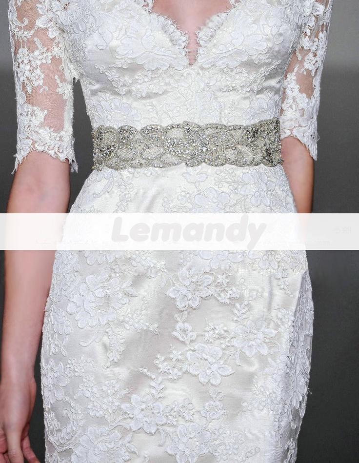 modest lace wedding dress with half sleeves by Lemandyweddingdress, $325.00