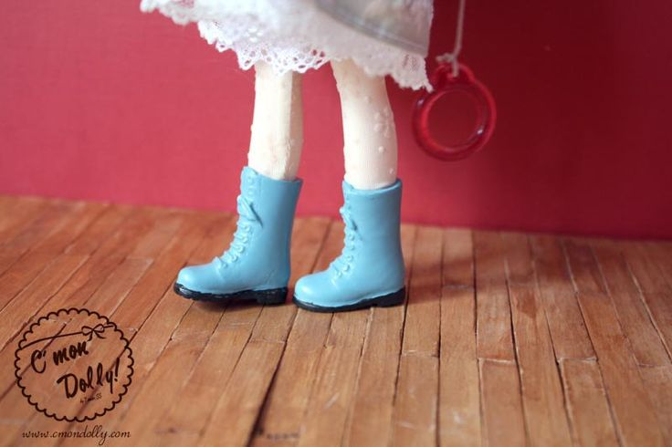 Blythe Licca Pullip Shoes Combat Blue Boots by cmondolly on Etsy