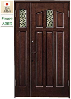 トラディショナルなイメージの木製玄関ドア。断熱性、気密性に優れています。安心の日本製です。#玄関ドア #親子ドア #無垢材のドア