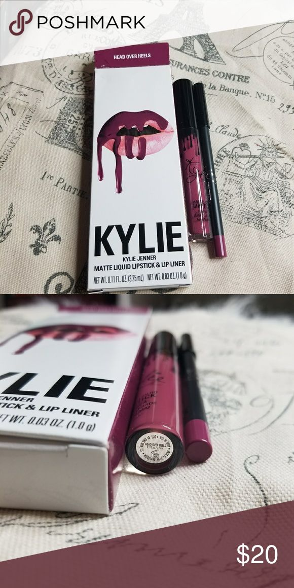 Head over heels Kylie matte lipkit Brand new in box, I have the full email I will print and send, smells like cake batter or like a vanilla scent. Super yummy smelling. This is AUTHENTIC and was purchased from Kylies website myself, I've just not used it so no point in keeping it around if I won't use it. I have watermarked my photos with makeupaddictashlee to avoid scammers using them. Kylie Cosmetics Makeup