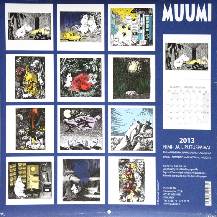 Moomin Calendar 2013 from Tove Jansson Illustrations