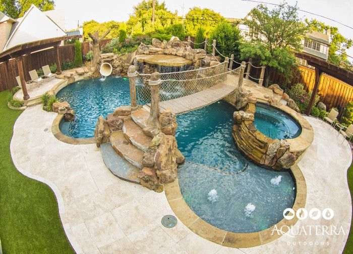 In this pirates themed backyard there is so much to do for for Pool designs for large backyards
