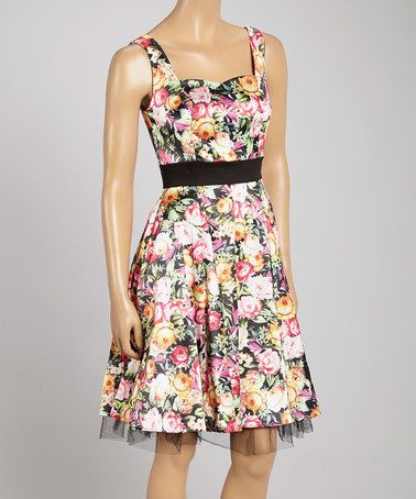 Look at this #zulilyfind! Pink & Green Floral Sleeveless Dress by HEARTS & ROSES LONDON #zulilyfinds