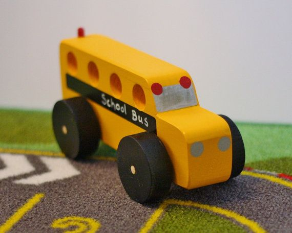 Toy School Bus  Handcrafted Wooden Yellow School Bus by McCoyToys $14.00 Great gift for teacher or teacher's child, bus driver.  Click link for other great wood toy vehicles: mccoytoys.etsy.com or aftcra.com/mccoytoys