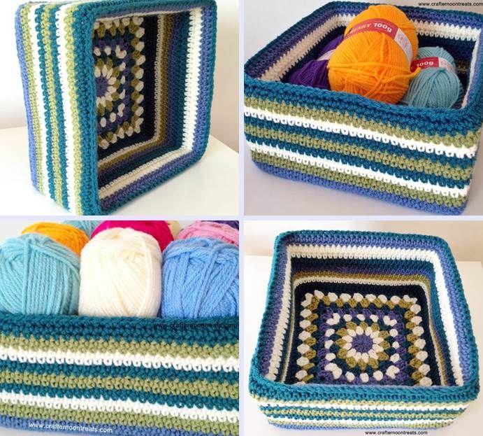 The finished retro granny stash box.. Free pattern!