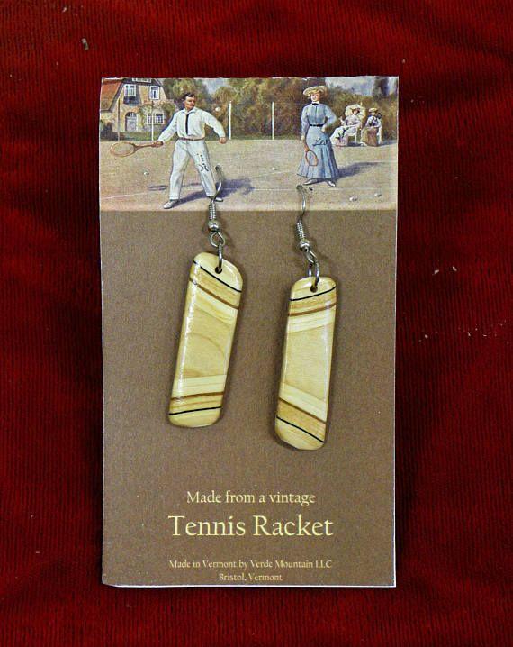 Vintage Tennis Racket Wooden Earthy Earrings cut from the