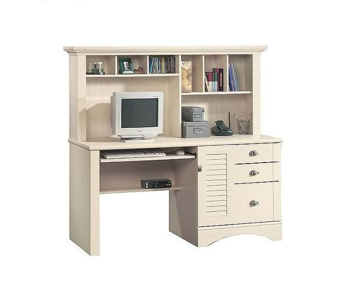 Home Computer Desk Office Furniture Workstation With Hutch Storage Racks Drawers #Sauder #Traditional