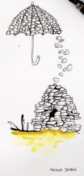 Illustration Bygninger, Humor, Landskab, Sort, Hvid, Gul - Stenfald - Marianne Stenberg - ONLINE KUNST GALLERI ARTUNIKA