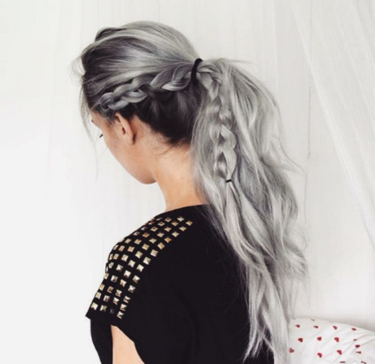 Braid and ponytail - looks great with light grey/silver hair and darker roots