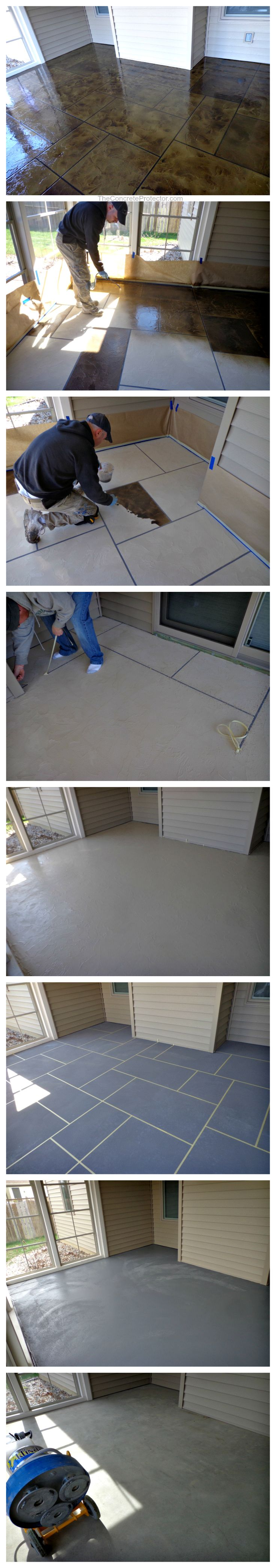 Hand-crafted ashlar slate concrete resurfacing in #sunroom #howto #concrete