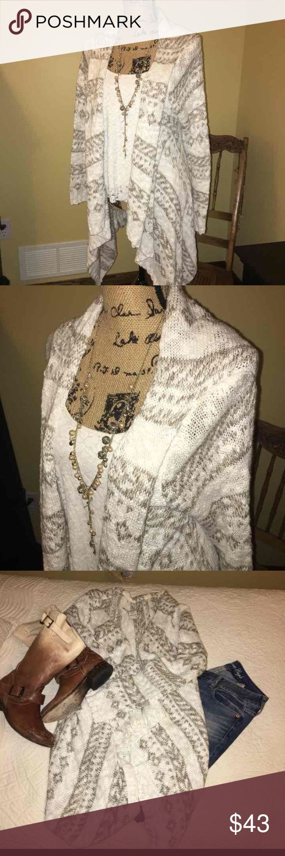 Women's American Rag outerwear cardigan Women's American Rag cardigan. Size small. Brand new condition. Worn once. Off white and taupe color. American Rag Sweaters Cardigans