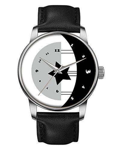 Damen Quarzuhr - Schwarze Echte Leder - Silber Uhre - Glat - Mond & Sterne -OOFIT Design - http://uhr.haus/oofit/geschenk-armbanduhr-damenuhr-leder-armbanduhr-7