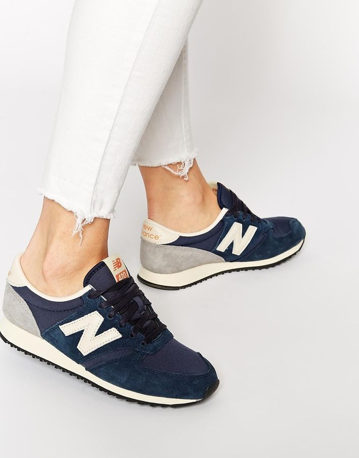 New Balance 420 Navy Vintage Sneakers $117 by New Balance at Asos Available Colors: navy Available Sizes: US 4.5,US 5.5 DETAILS ABOUT ME Upper: 50% Real leather, 50% Textile, Lining: 100% Textile, Sole: 100% Other materials Suede leather upper Tonal textile panels Signature logo design Lace-up fastening Padded cuffs for extra comfort Textured grip tread Treat with leather protector 50% Real leather, 50% Textile upp