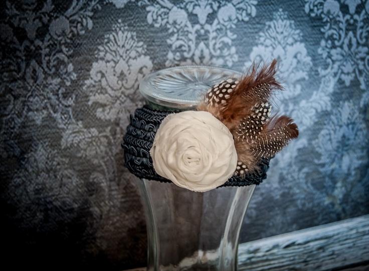 white rosette feather headband
