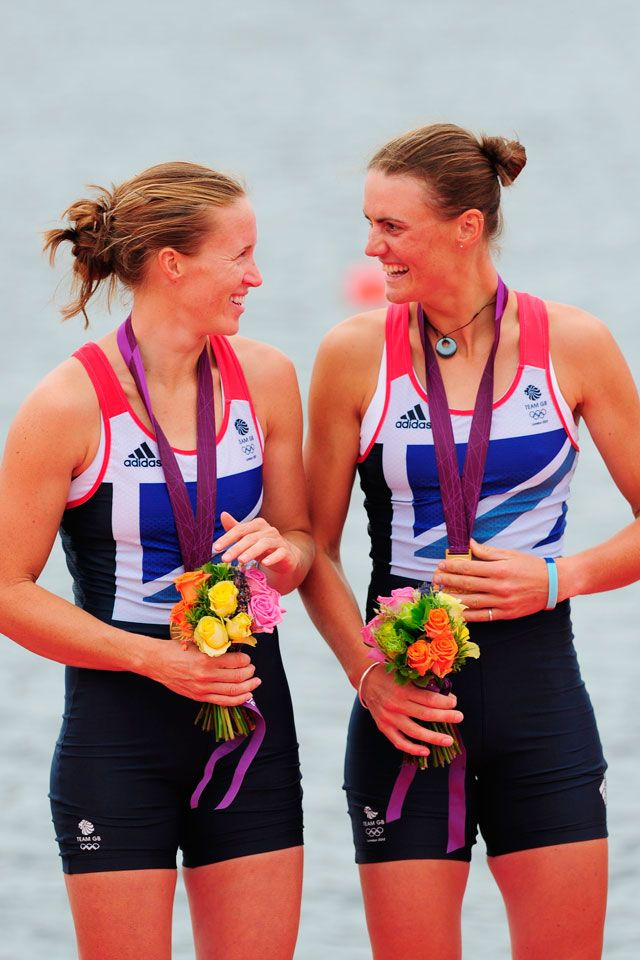 London 2012 - Team GB's Helen Glover (left) and Heather Stanning celebrate becoming the first British women to win a rowing gold. Australia won silver and New Zealand won bronze in the Women's Pair Final A at Eton Dorney.