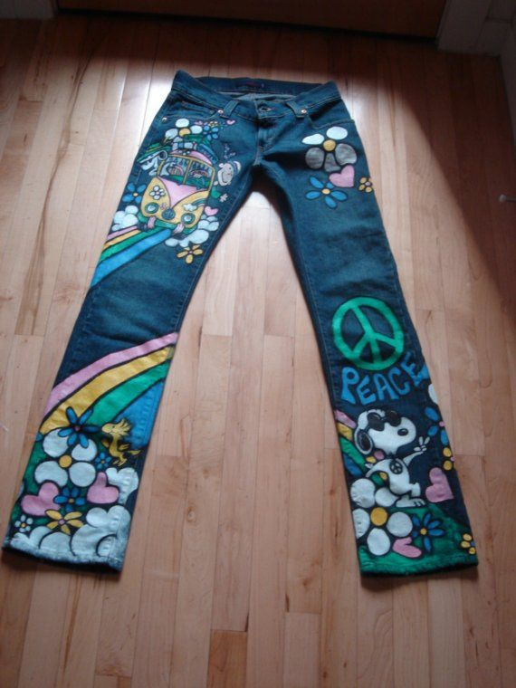 Hand Painted Snoopy Hippy Jeans By Scatterbirdie On Etsy