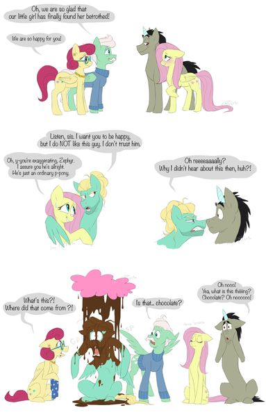 #1322072 - artist:artbeta, chocolate, chocolate rain, comic, discord, discord as a pony, discoshy, fluttershy, food, mr. shy, mrs. shy, overprotective, rain, safe, shipping, straight, zephyr breeze - Derpibooru - My Little Pony: Friendship is Magic Imageboard