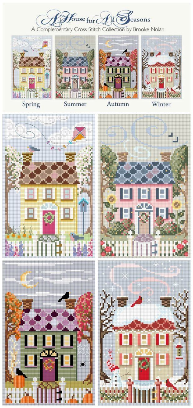 Free cross stitch patterns. A House For All Seasons counted cross stitch charts, free cross stitch pattern. Embroidery pattern.