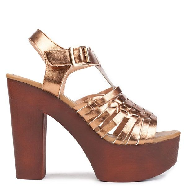 Gold multistrap high-heel sandal with platform. Features wooden chunky heel and fastens with adjustable ankle strap.