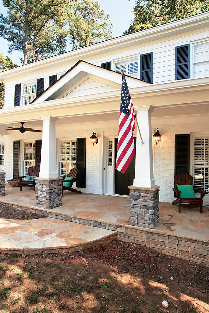 Craftsman style front porch with tapered columns on stacked stone piers. Designed and built by Georgia Front Porch.