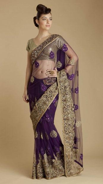 Varun Bahl purple net sari