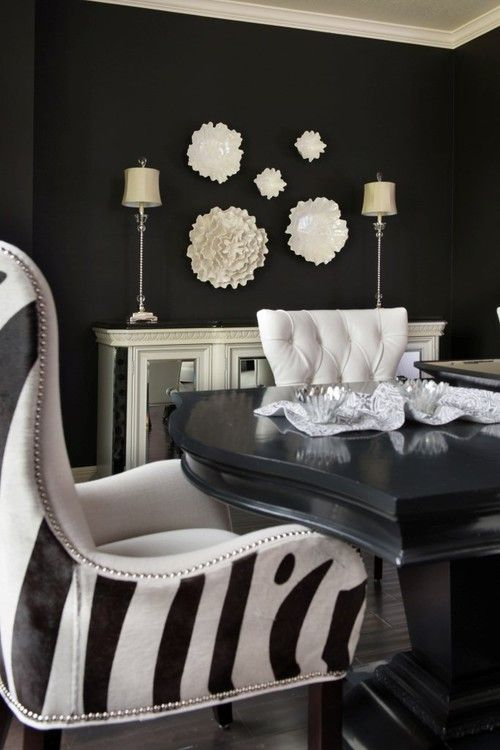 Wall color is Sherwin Williams Caviar via Kathleen Ramsey Design.