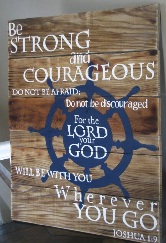Joshua 1:9 Nautical theme hand painted scripture by WordsofPurpose