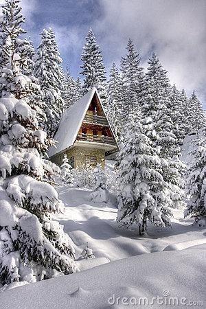 Snow covered winter ski chalet