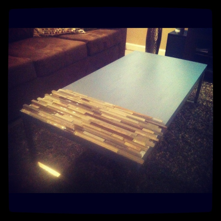 Reclaimed Coffee Table -painted Wood With Glass And Stone